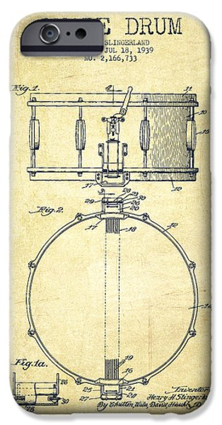 Technical iPhone Cases - Snare Drum Patent Drawing from 1939 - Vintage iPhone Case by Aged Pixel