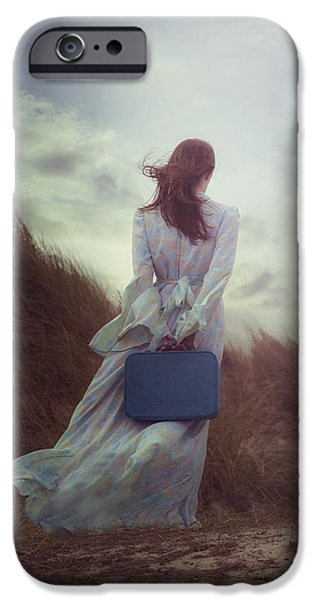 Luggage iPhone Cases - Woman With Suitcase iPhone Case by Joana Kruse