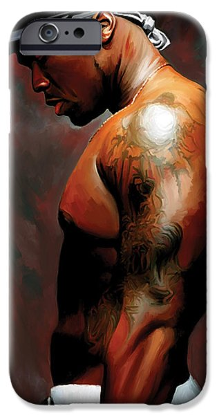 Hip-hop iPhone Cases - 50 Cent Artwork iPhone Case by Sheraz Ahmad