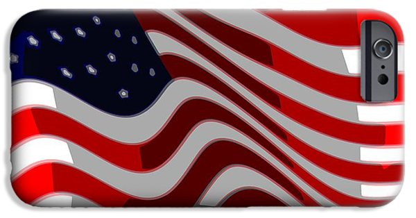 4th July Digital iPhone Cases - 50 Star American Flag Closeup Abstract 6 iPhone Case by L Brown