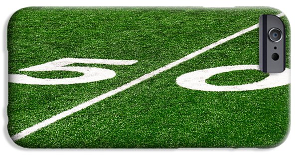 Marker iPhone Cases - 50 Yard Line on Football Field iPhone Case by Paul Velgos