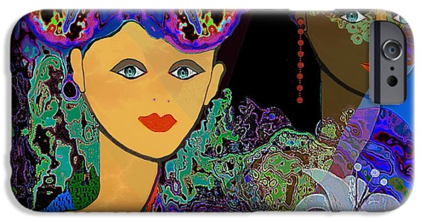 Flower Of Life Digital Art iPhone Cases - 509 - The Colours of a summer night B . iPhone Case by Irmgard Schoendorf Welch