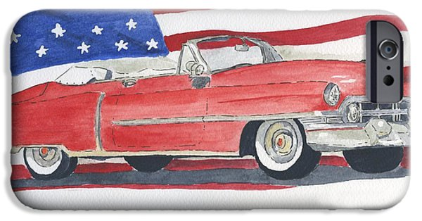 American Cars Drawings iPhone Cases - 52 Cadillac Convertible iPhone Case by Eva Ason