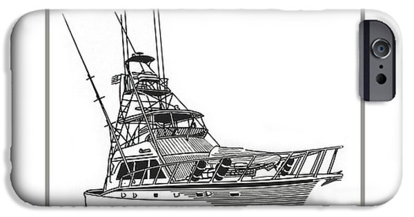 Pen And Ink iPhone Cases - 52 foot Hatteras Sportsfisherman iPhone Case by Jack Pumphrey