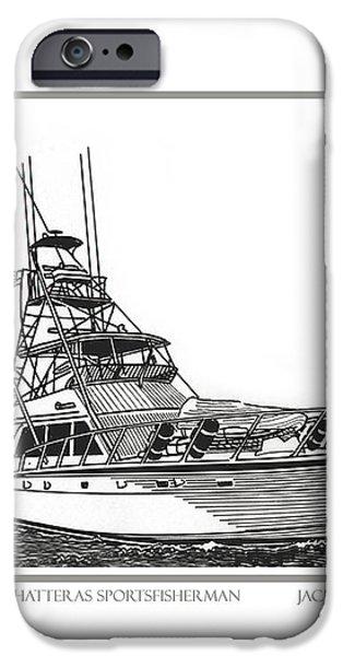 52 foot Hatteras Sportsfisherman iPhone Case by Jack Pumphrey