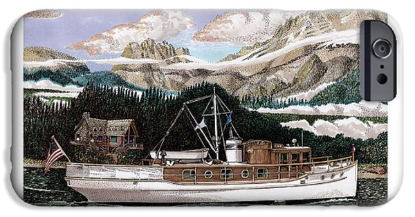 Mist Drawings iPhone Cases - 53 foot classic yacht North to Alaska iPhone Case by Jack Pumphrey