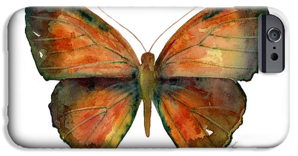 Rust Paintings iPhone Cases - 56 Copper Jewel Butterfly iPhone Case by Amy Kirkpatrick