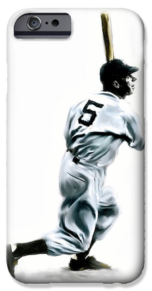 Fame Drawings iPhone Cases - 56 Joe DiMaggio iPhone Case by Iconic Images Art Gallery David Pucciarelli