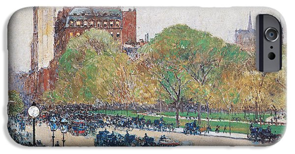 Childe iPhone Cases - Spring Morning in the Heart of the City iPhone Case by Childe Hassam
