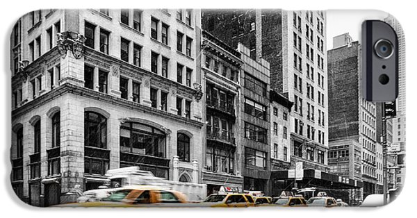 Print Photographs iPhone Cases - 5th Avenue yellow cab iPhone Case by John Farnan