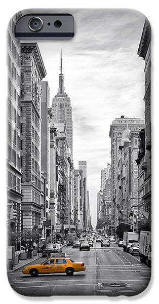 Empire State Digital iPhone Cases - 5th Avenue Yellow Cab iPhone Case by Melanie Viola