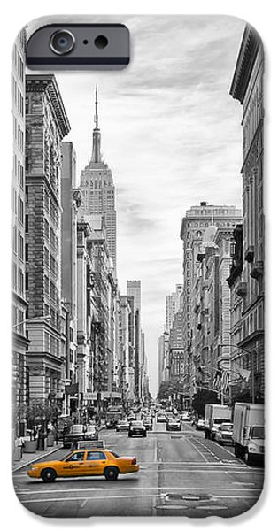 Empire State Digital iPhone Cases - 5th Avenue Yellow Cab - NYC iPhone Case by Melanie Viola