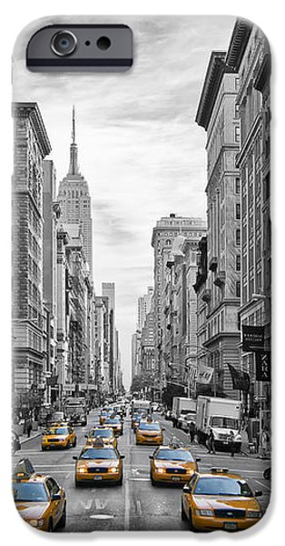 Modern Digital Art iPhone Cases - 5th Avenue Yellow Cabs - NYC iPhone Case by Melanie Viola