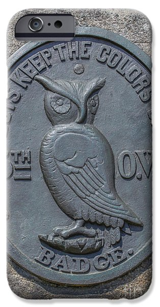 5th Infantry Regiment iPhone Cases - 5th Ohio Owl Marker Gettysburg iPhone Case by Randy Steele