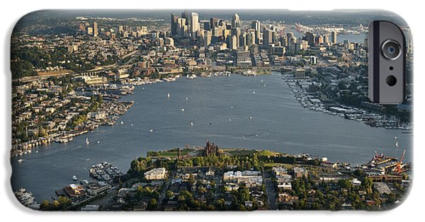 Local Attraction iPhone Cases - Aerial View Of Seattle iPhone Case by Jim Corwin