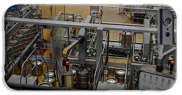 Stainless Steel Pyrography iPhone Cases - Beer factory interior iPhone Case by Oliver Sved