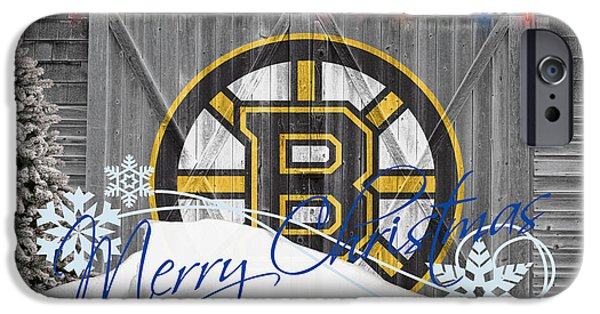 Santa iPhone Cases - Boston Bruins iPhone Case by Joe Hamilton