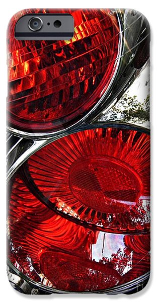 Glass Reflections iPhone Cases - Brake Light 13 iPhone Case by Sarah Loft