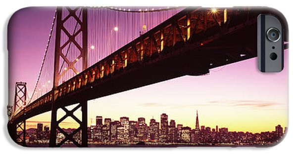 Oakland Bay Bridge iPhone Cases - Bridge Across A Bay With City Skyline iPhone Case by Panoramic Images