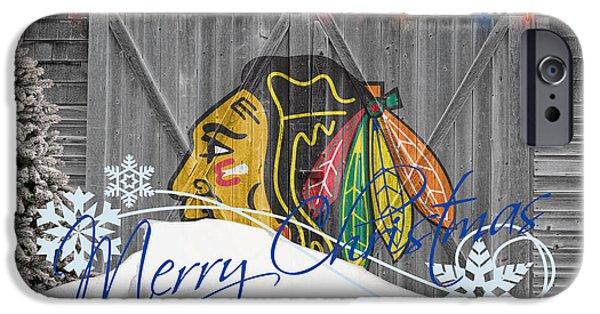 Christmas Greeting iPhone Cases - Chicago Blackhawks iPhone Case by Joe Hamilton