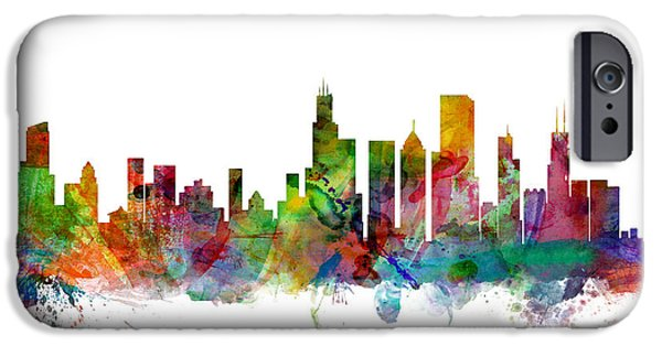 United iPhone Cases - Chicago Illinois Skyline iPhone Case by Michael Tompsett