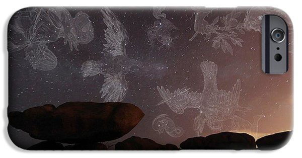 Serpent iPhone Cases - Constellations In A Night Sky iPhone Case by Laurent Laveder
