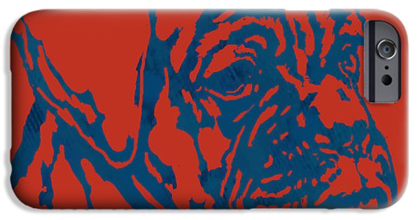 Caricature Portraits iPhone Cases - Dog stylised pop modern etching art portrait iPhone Case by Kim Wang