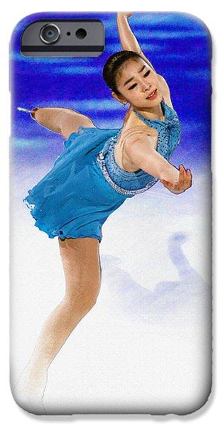 Kim Digital Art iPhone Cases - Kim Yuna - Figure Skating iPhone Case by Don Kuing
