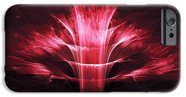 Floral Digital Art Digital Art Digital Art iPhone Cases - Fractal flower  iPhone Case by Martin Capek