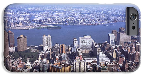 Empire State iPhone Cases - High Angle View Of Buildings In A City iPhone Case by Panoramic Images