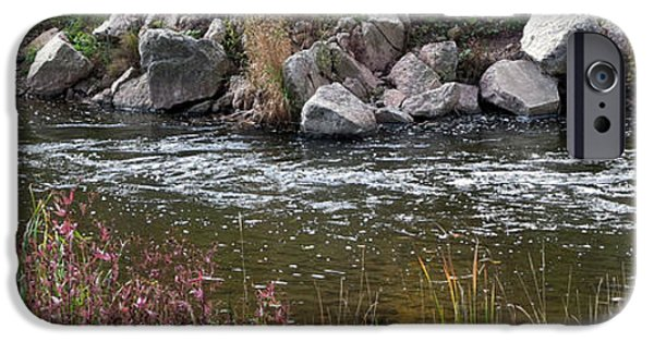 Creek iPhone Cases - Horizontal Panorama Fall Colors Trees Lion River Creek Trail Oakville Ontario Canada  Photography di iPhone Case by Navin Joshi