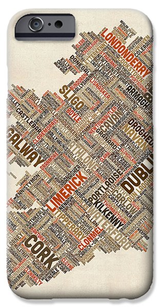 Geography iPhone Cases - Ireland Eire City Text map iPhone Case by Michael Tompsett