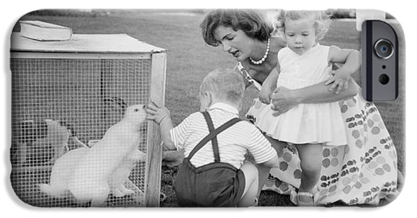 First Lady iPhone Cases - Jacqueline and Caroline Kennedy at Hyannis Port 1959 iPhone Case by The Phillip Harrington Collection