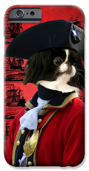 Japanese Chin iPhone Cases - Japanese Chin Art Canvas Print iPhone Case by Sandra Sij