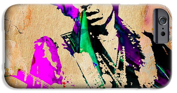 Blue iPhone Cases - Jimi Hendrix Painting iPhone Case by Marvin Blaine