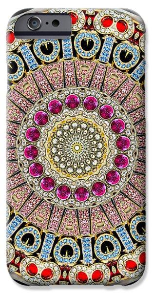 Kaleidoscope Colorful Jeweled Rhinestones iPhone Case by Amy Cicconi