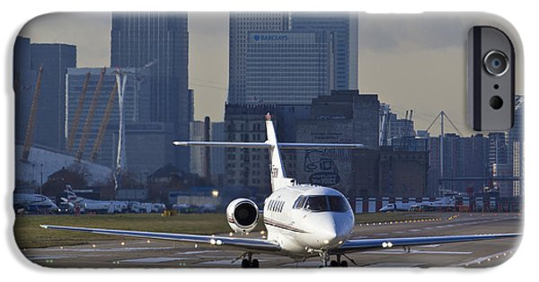 Traffic Control iPhone Cases - London city Airport iPhone Case by David Pyatt
