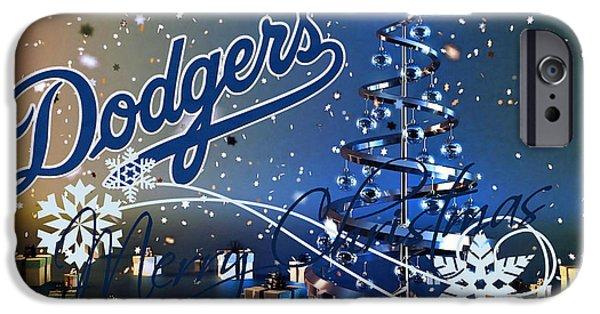 Baseball Glove iPhone Cases - Los Angeles Dodgers iPhone Case by Joe Hamilton