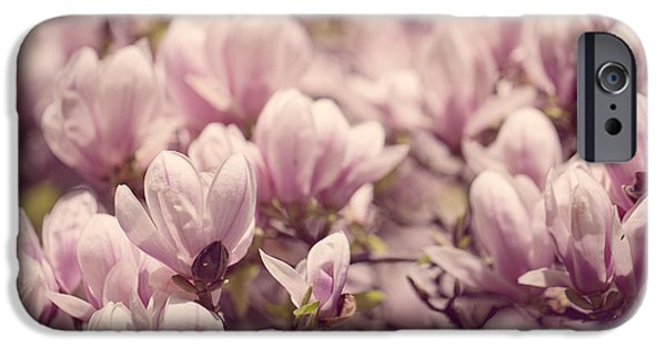Pink Roses iPhone Cases - Magnolia Flowers iPhone Case by Nailia Schwarz