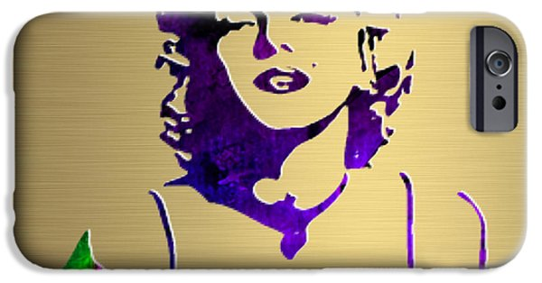 Portrait iPhone Cases - Marilyn Monroe Gold Series iPhone Case by Marvin Blaine
