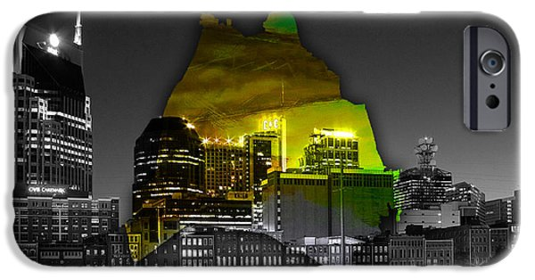 Nashville Skyline iPhone Cases - Nashville Skyline and Map Watercolor iPhone Case by Marvin Blaine