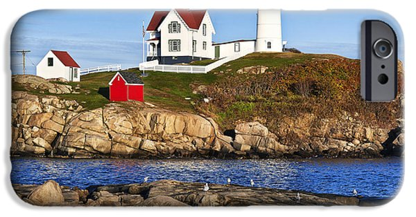 Cape Neddick Lighthouse iPhone Cases - Nubble Lighthouse iPhone Case by John Greim