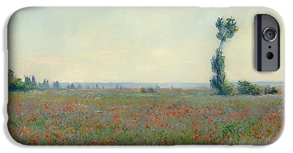Field. Cloud iPhone Cases - Poppy Field iPhone Case by Claude Monet