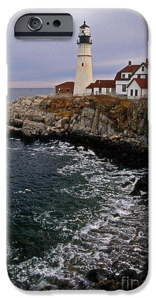 Lighthouse Art iPhone Cases - Portland Head Lighthouse iPhone Case by Skip Willits
