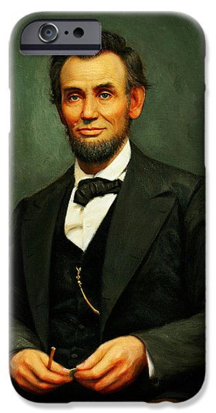 16th President Mixed Media iPhone Cases - President Abraham Lincoln iPhone Case by MotionAge Designs