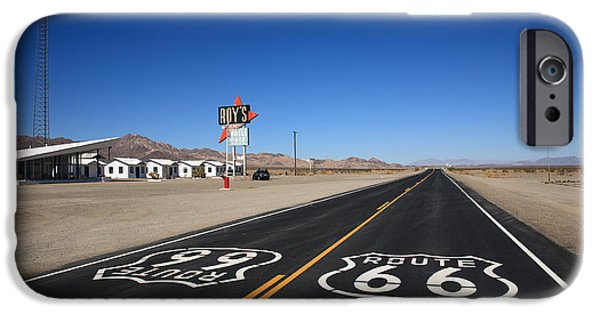 Asphalt iPhone Cases - Route 66 Shield iPhone Case by Frank Romeo