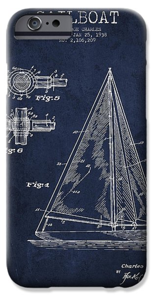 Sail Boat iPhone Cases - Sailboat Patent Drawing From 1938 iPhone Case by Aged Pixel