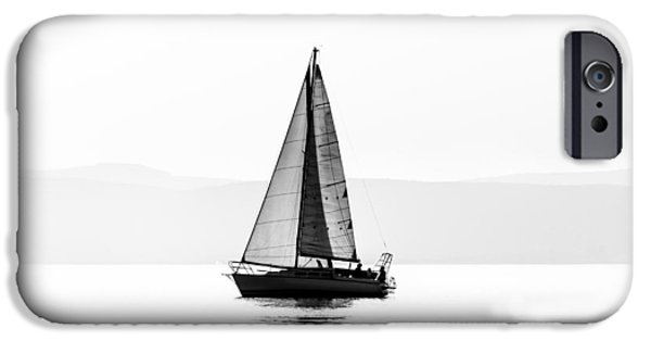 Sailboat Pyrography iPhone Cases - Sailing boats with a beautiful sunset iPhone Case by Oliver Sved