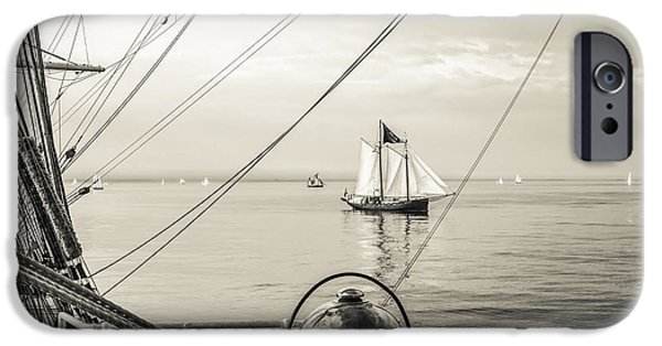 Sailing iPhone Cases - Morning in the Roadstead iPhone Case by Maslyaev Yury