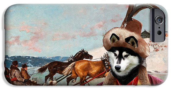Huskies Paintings iPhone Cases - Siberian Husky Art Canvas Print iPhone Case by Sandra Sij